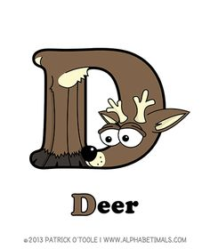 Deer - Alphabetimals make learning the ABC's easier and more fun! http://www.alphabetimals.com