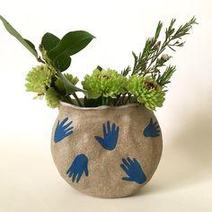 Brown ceramic vase, hands vase, blue hands vase, ceramic circle vase