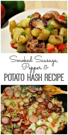 Smoked Sausage, Pepper & Potato Hash Smoked Sausage, Pepper and Potato Hash Recipe -- A fast, easy and comforting dish that's perfect for breakfast, lunch or dinner. Grilling Recipes, Pork Recipes, Cooking Recipes, Irish Recipes, Easy Cooking, Potato Recipes, Fast Dinners, Easy Meals, Outdoor Griddle Recipes