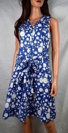 UNITED COLORS OF BENETTON Burnout Polka Dot Fit & Flare Dress Size 42 #UnitedColorsofBenetton