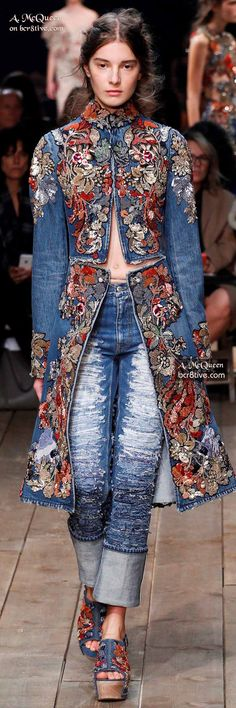 Gorgeous Embroidered Denim Coat - The Best of Alexander McQueen 2016.  (Note:  the RTW version of this coat, at NM, is $7,625 and only has embroidery on the bodice front and collar.  http://www.neimanmarcus.com/Alexander-McQueen-Embroidered-Cutaway-Denim-Coat-Medium-Vintage-Wash/prod186210493 )