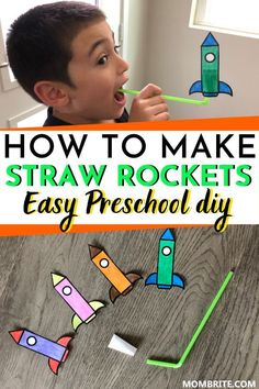 Looking for a fun indoor kids activity you can do at home with your toddler and preschooler? Learn how to easily make these super fun straw rockets and have fun blasting off with your kids using my complimentary free printable! Activities For Toddlers Kids Activities At Home, Toddler Learning Activities, Toddler Preschool, Kids Crafts, Daycare Crafts, Educational Activities, Summer Activities For Preschoolers, Science Crafts For Kids, Activities For 5 Year Olds