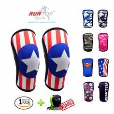 RUNTOP 7mm Neoprene Knee Sleeves Crossfit Weight Lifting Powerlifting Fitness Running Knee Pads Support Brace Cap Compression
