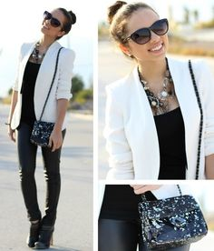 Über chic! Love this look~ white blazer, cute hand bag, hair in a bun, skinny jeans and booties AND chic sunglasses