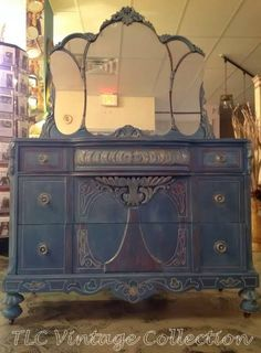 How could you lose when you start with a beautiful antique piece like this? Painted by Janet Pillar in colors Aubusson Blue, Duck Egg, Primer Red all Chalk Paint® by Annie Sloan