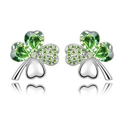Swarovski Elements Green Crystal Four Leaf Clover Love Heart Silver Plated Earring
