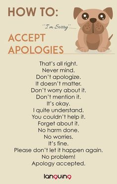 How to: Accept Apologies in English? You can learn the variations of the use of language English Learning Spoken, Learn English Grammar, English Writing Skills, English Language Learning, Learn English Words, English Lessons, Teaching English, English Conversation Learning, French Language