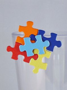 Autism Awareness Upcycled Puzzle Piece Pin by CurlyQuills on Etsy, $5.00. I made this in honor of my nephew, Westin.