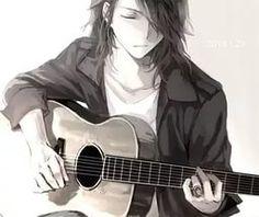 аниме, чёрный, парень, гитара, волосы, манга, музыка.