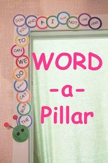 Create the word wall around the classroom. It is an engaging way to get the students involved in learning a new word each day because they get to add a piece to the word wall and make the caterpillar grow. The answer to my insufficient wall space!! Love it )