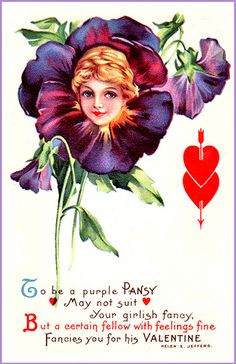 Flower Face Woman (B)~ To Be A Purple Pansy - Red Heart Valentine Poem H Jeffers - Valentinstag My Funny Valentine, Valentine Love Cards, Vintage Valentines, Vintage Greeting Cards, Vintage Ephemera, Vintage Postcards, Vintage Images, Paper Lace, Flower Fairies
