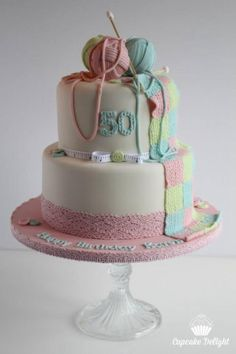 Knitting themed birthday cake - Cake by Cupcake Delight