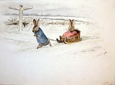 Beatrix Potter - Peter Rabbit pulls the sled Beatrix Potter Illustrations, Peter Rabbit Nursery, Beatrice Potter, Peter Rabbit And Friends, Inspiration Artistique, Year Of The Rabbit, Art Simple, Painting Snow, Watercolor Drawing