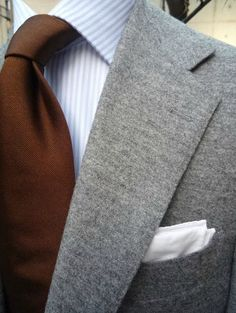 # gray #suit #men #fashion #style #tie #brown #stripes #shirt