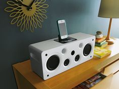 Support and charge your iPad, and all your iPhone and iPod series with this stylish speaker dock from Argos in a fresh white finish, with removable speaker cover for a funky look. Audiophile Speakers, Argos, Floating Nightstand, Ipod, Fresh, Stylish, My Style, Cover, Home Decor