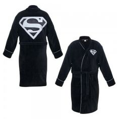 Superman Black Terry Cloth Robe