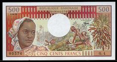 Currency of Gabon 500 francs banknote of 1978, issued by the Bank of Central African States - Banque des États de l'Afrique Centrale (BEAC). Gabon banknotes, Gabon paper money, Gabon bank notes, Gabonese currency. Obverse: Portrait of Gabonese woman wearing kerchief at right and Industrial rainforest logging at center.