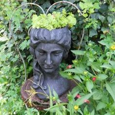 Head planter on an old metal chair. Beautiful.