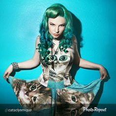 "By @cataclysmique ""She's a predator posing as a house pet =^_^=  @larryalanphoto  @thutchison73  #MermaidHair #PinUpHair @hair_or_dye_salon  dress by @tshirtballgown #FriskyFriday #FelineFriday #AltFashion #AltPinUp"""