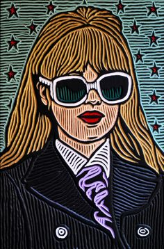 """""""Marianne Faithfull"""" by Lisa Brawn at Yard Dog Art Galley. The Yard Dog features eclectic and funky folk art inspired by the vibe of Austin. Located at 1510 S. Uncommon Objects, Lino Art, Marianne Faithfull, Children's Book Illustration, Illustrations, Dog Art, Wood Carving, Printmaking, Art Gallery"""