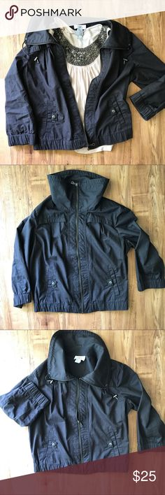 LOFT Black Jacket Cropped 3/4 sleeve jacket is perfect for cool summer mornings or spring and fall weather. Zip completely up for a funnel neck look or leave it open, both looks shown. Great condition!! LOFT Jackets & Coats Utility Jackets