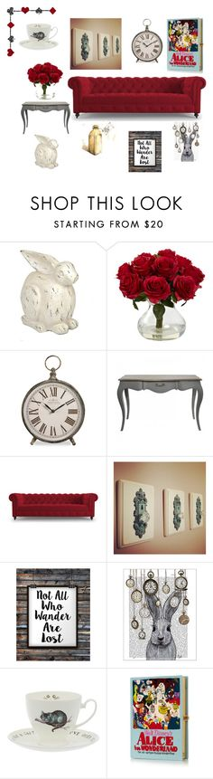 """Alice in Wonderland-Livingroom"" by freckled-gypsy ❤ liked on Polyvore featuring interior, interiors, interior design, home, home decor, interior decorating, Nearly Natural, Joybird Furniture, FabFunky and Olympia Le-Tan"