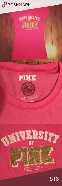 PINK tee shirt PINK brand-size XS-barely worn-gold letters Victoria's Secret Tops Tees - Short Sleeve