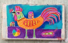 A personal favorite from my Etsy shop https://www.etsy.com/listing/528582634/folk-art-rooster-painting-on-rustic-wood