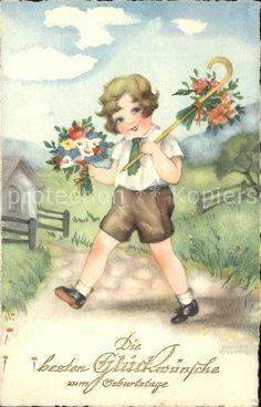 Petersen Hannes 3699 Geburtstag Kind Blumenstraeusse Spazierstock  Kat…