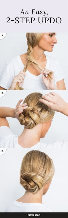 Updos dont have to be complicated! David showed us a two-step hairstyle you can literally pull off in two minutes. Start by splitting your hair into two equal sections, and then wind your strands into a thick twist.