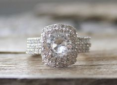 SET - 3 Ring White Sapphire Diamond Halo Engagement Ring in 14K White Gold