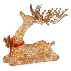 National Tree Company Sisal Splendor Champagne Lying Deer with 105 Mini Clear Lights - DF-105009U
