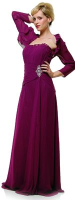 *In Stock & Ready to ShipEggplant Devine Sheer Chiffon Modest Prom Gown with Sheer Cropped Jacket - S to 6X
