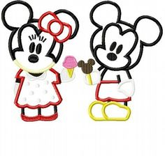 Cuties with Ice cream Mister and Miss Mouse TWO design SET  Machine Applique Embroidery Designs, Multiple sizes including 4 inch