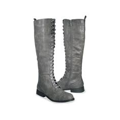 The Shoe Closet ❤ liked on Polyvore featuring shoes, boots, ankle booties, combat boot, grey combat boots, lace up combat boots, military boots, combat boots and grey booties