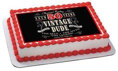 Vintage Dude 50th Edible Birthday Cake Topper OR Cupcake Topper, Decor