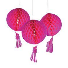 "Hot Pink Honeycomb Tissue Balls with Tassel - OrientalTrading.com $7.25/3pc/ 10"""