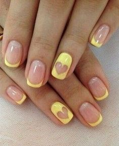 Yellow + French Manicure + Heart