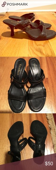 Cole Haan Hannah slide Cole Haan Hannah slide in black with brown stitching and sliver buckle. In excellent condition pair with jeans for a casual look or a lbd for a night out. Made in Brazil Cole Haan Shoes Heels