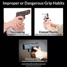 Improper AND Proper pistol grip! someone always holds their gun wrong at the range. Home Defense, Self Defense, Survival Tips, Survival Skills, Survival Essentials, Airsoft, Just In Case, Just For You, By Any Means Necessary