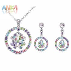 2017 New Clover Set Fashion flower jewelry sets crystal necklace set High Quality Free Shipping #115551