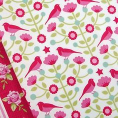 Tilda Christmas raspberry pink folklore bird flower tree quilting craft fabric