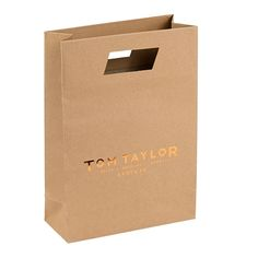 8cc4631092 Imprinted Kraft Die Cut Bags add a high end look and feel to your  merchandise. Customize with your brand's logo ideal for retail marketing.