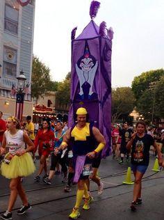 Guy dressed as Kronk running the Disneyland Marathon