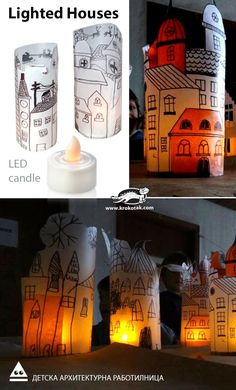 Use tracing paper, black marker and colored markers to draw the houses. Then glue together. Use led lights inside for kids safety. Need christmas decoration!