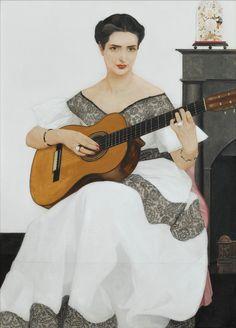 Bernard Boutet de Monvel - DELFINA PLAYING THE GUITAR - oil on canvas