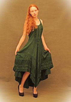 Gorgeous GYPSY Dress Forest green folk embroidery by Andeebird, $138.00
