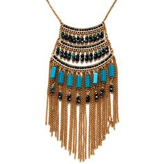 Leslie Danzis Women's Glass Crystal Beads Fringe Pendant Necklace -... (59 CAD) ❤ liked on Polyvore featuring jewelry, necklaces, accessories, gold, beaded necklaces, 14 karat gold necklace, pendant necklace, gold pendant necklaces and 14k necklace