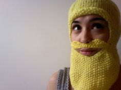 Knitted Yellow Beard Balaclava £40 #Folksy