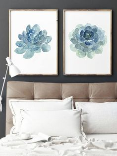 Succulent Cactus Watercolor Painting set of 2 Cacti Art Prints. Baby Boy Nursery Abstract Minimalist Wall Decoration. Teal Blue Botanical Illustration. Liveforever Houseleeks Sempervivum Print Home Decor. A price is for the set of two Succulent Art Prints as in the first Picture. Type of paper: Prints up to (42x29,7cm) 11x16 inch size are printed on Archival Acid Free 270g/m2 White Watercolor Fine Art Paper and retains the look of original painting. Larger prints are printed on 200g&#x2...
